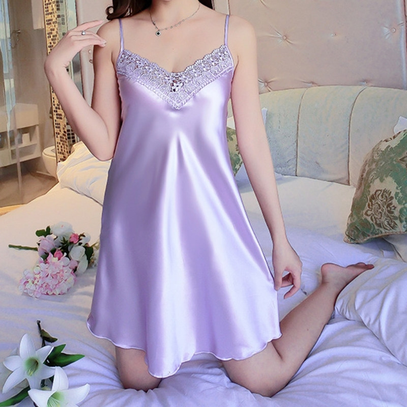 KLV Women Ice Silk Cool Nightgown Pyjamas Sexy V Neck Sleepwear Nightwear 2018 New ...