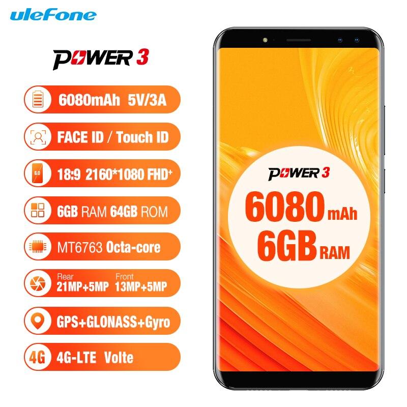"Ulefone Power 3 Face ID 6.0"" 18:9 Display 6GB RAM 6080mAh Mobile Phone MTK6763 Octa Core 64GB ROM Android8.1 OTG 21MP Smartphone"