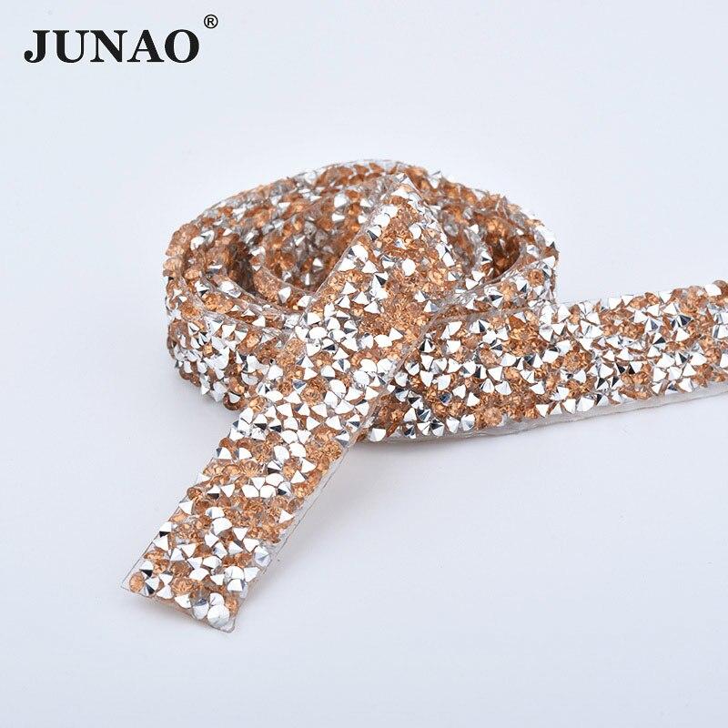 JUNAO 5 Cour * 15mm Champagne Hotfix Cristal Garniture Strass Baguage Strass Chaîne Hot Fix Cristal Maille Applique pour robe Vêtements