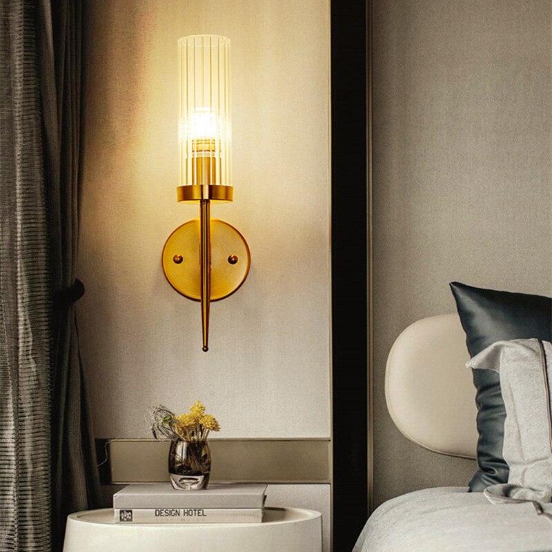 Moderne Loft salle à manger cristal applique murale rétro doré Noble hôtel Hall Villa applique murale Led étude chevet lumière livraison gratuite