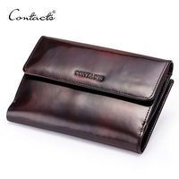 Retro Luxury Famous Brand Genuine Leather Organizer Wallets Men Women Real Handmade Brush Leather Coin Bag