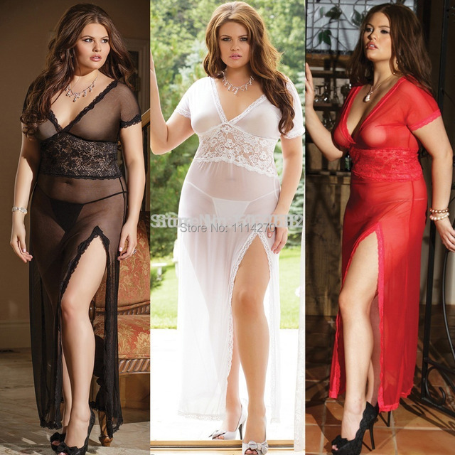 56a3c133c30 Plus Size XXL White Black Red Mesh Lace V Neck night dressing Gown dress  Sexy Long nightgown nightie lingerie for fat big women
