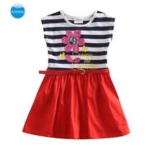 JUXINSU Girl Sleeveless Dress for Kids Baby Summer Cotton Flower Stripes 1-6 Years