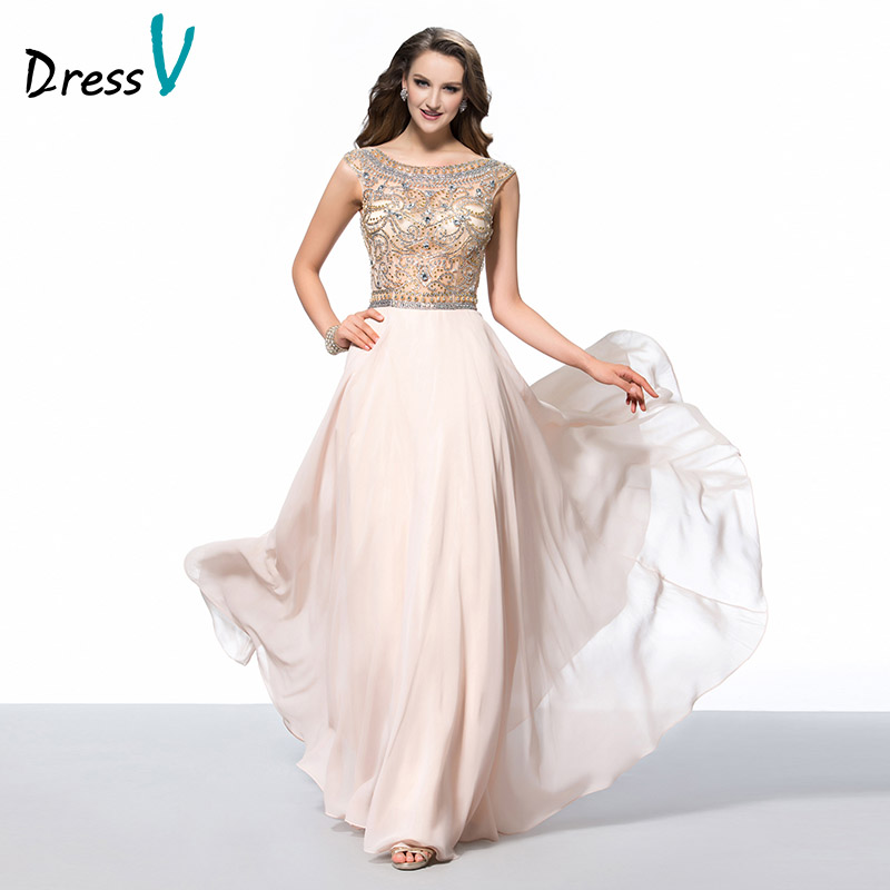 Dressv Stunning Long Prom Dresses 2017 Scoop Fancy Beaded