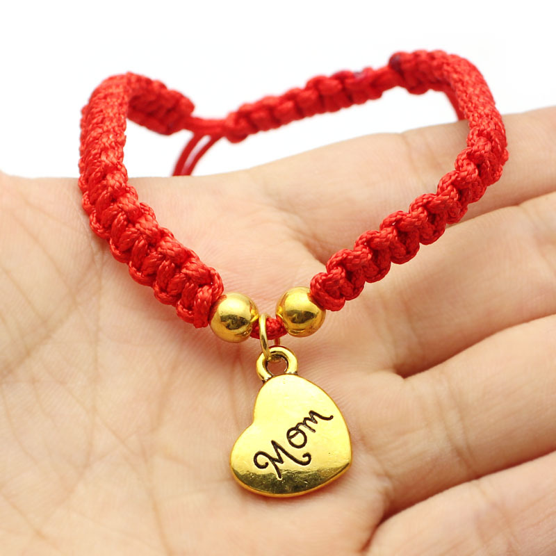 2017 Fashion Thin Red Cord Thread String Rope Chain with Alloy Heart Silver color Bracel ...