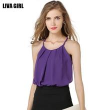 Women Casual Chiffon Blouse Blusas Femininas 2016 Plus Size Solid Color Sleeveless Shirt Blusa Roupas Feminino Camisa Preto Rosa