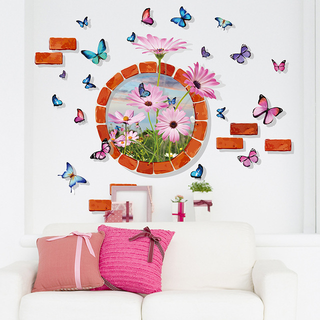 3D Stereo Butterfly Round Brick Circle Flowers Wall Stickers Living