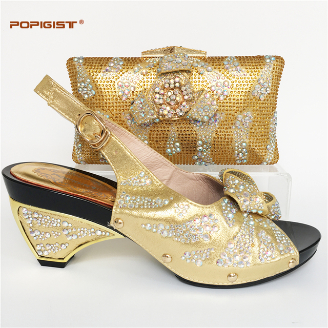 Comfortable new Chunky heels gold color stability Italian shoes matching  bag wedding African shoes and bag set match shoes bag ba92ea041654