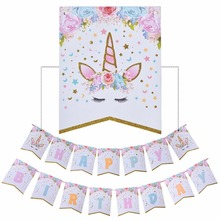 Glitter Unicorn Happy Birthday Banner Baby Shower Paper Flags Party Decorations Kids Suppilies