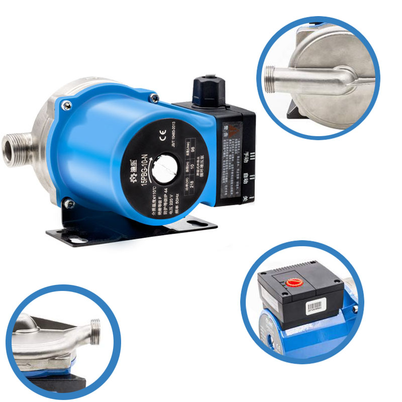 220V 218W Hot Water Booster Water Pump 3/4'' 33FT Head 12GPM Flow Stainless Steel +Y-style Filter +Leakage Protection Plug 100w 220v shower booster water pump