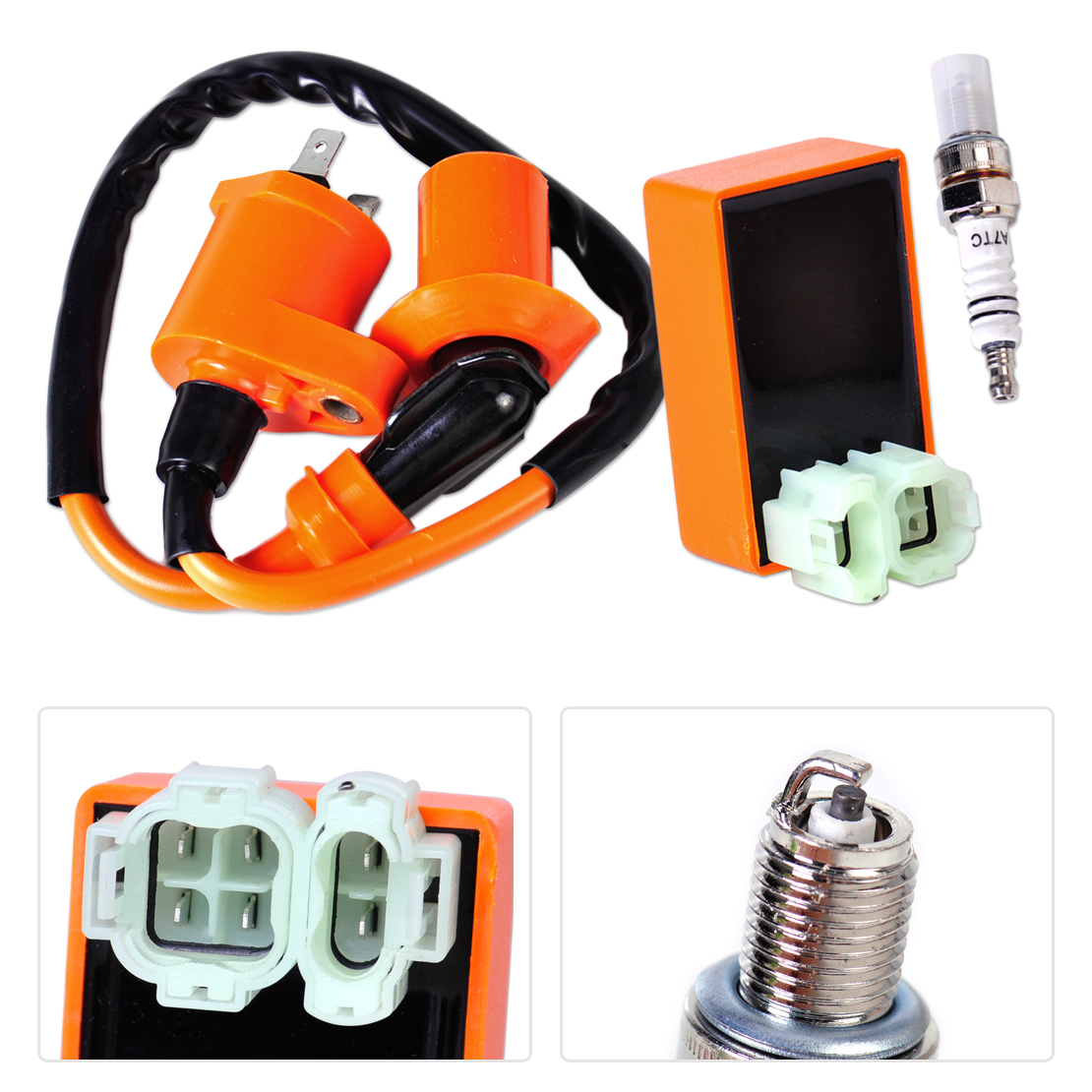 DWCX Racing Ignition Coil + Orange 6Pin CDI Box + Spark Plug for GY6 50cc 70cc 90cc 125cc 150cc Scooter Go Kart 4-stroke engines