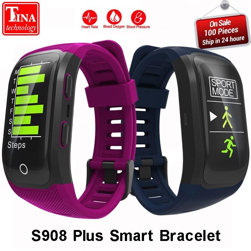 Новый S908 плюс смарт-браслет gps IP68 Профессиональные водонепроницаемый Цвет экран сердечного ритма Auto LAP Smart Band трекер сна