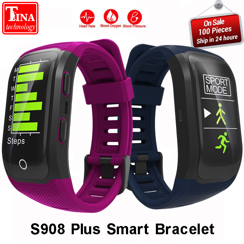 Amicable New S908 Plus Smart Bracelet Gps Ip68 Professional Waterproof Color Display Screen Heart Rate Auto Lap Smart Band Sleep Monitor Strengthening Waist And Sinews