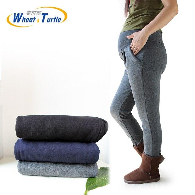 2017 Hot Sale Good Quality Cotton Maternity Pants All Match Thicken Velvet Warm Winter Pants For Pregnant Women Big Size XL-4XL