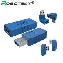 90 درجة USB 3.0 A ذكر إلى أنثى عمودي يسار يمين إلى أسفل بزاوية محول USB 3.0 متر/F موصل لأجهزة الكمبيوتر المحمول جهاز كمبيوتر شخصي أزرق
