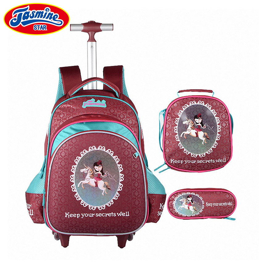 bb083323a4a8 JASMINESTAR 3 шт. школьные сумки тележки девушка мультфильм рюкзаки Дети  сумка Чемодан большой Ёмкость колесные