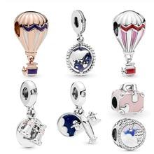 New Arrival 100% 925 Sterling Silver Beads, Hot Air Balloon Globe Trip Charms fit Original Pandora Bracelets Women DIY Jewelry