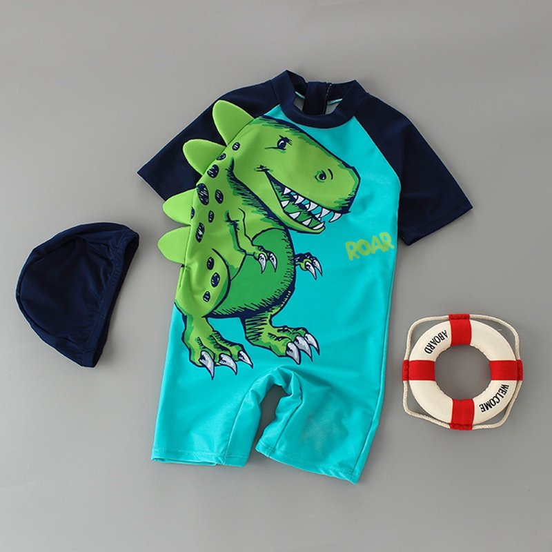 Dinosaur Pattern Printed One Piece Beach Swimsuit Cap Swimwear Set Sunshade Fast Drying Swimming Racing Suit For Boys Sportswear