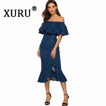 XURU summer new womens denim dress sexy tight bag hip ruffled word shoulder wash water