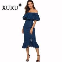 XURU summer new women's denim dress sexy tight bag hip ruffled dress word shoulder wash water denim dress цена и фото