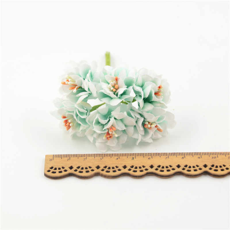 6 pièces soie étamine artificielle Rose fleurs Bouquet pour mariage décoration Handmake bricolage couronne cadeau Scrapbooking artisanat fausse fleur