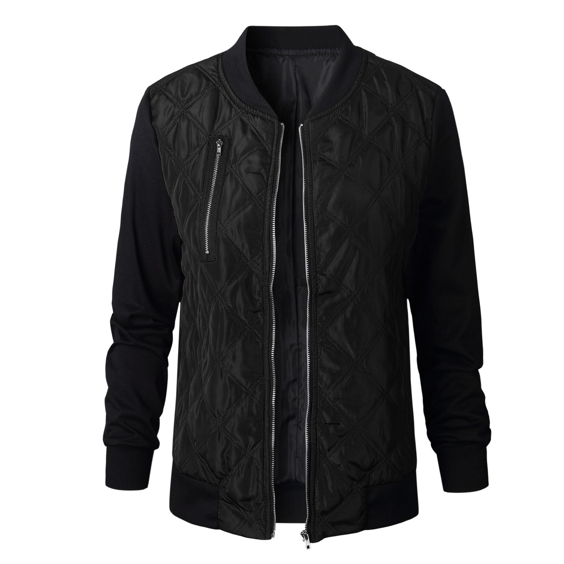 HTB17nXKFv1TBuNjy0Fjq6yjyXXa2 Plus Size Autumn Winter Fashion Slim Women's Jacket Zipper Cardigan Splice Bomber Jackets 2019 Long Sleeve Bodycon Coats Female