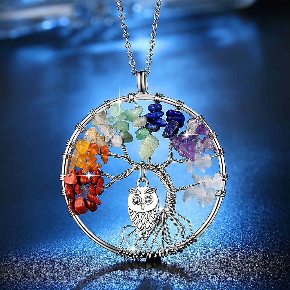 Beiver 100% Handmake Multi-color Natural Stones and Minerals Life Tree and Cute Owl Necklace Women's Fashion Wedding Jewelry