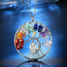 Beiver 100% Handmake Multi-color Natural Stones and Minerals Life Tree and Cute Owl Necklace Women's Fashion Wedding Jewelry(China)