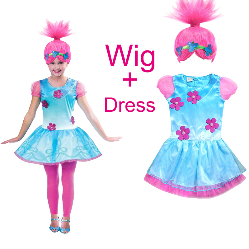 2017 Summer Girl Dress hello kitty moana clothes Trolls Wig +dress set for children princess party cosplay dresses Kids Costumes