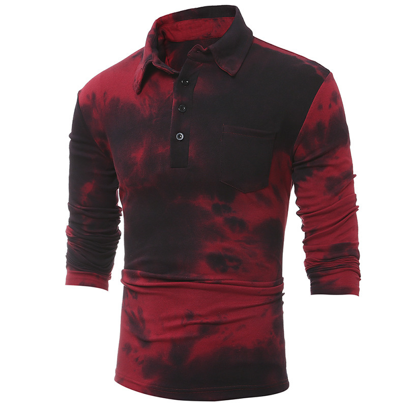 Mens Clothing Autumn Winter New Print Gradient Color Casual Slim Lapel Long Sleeve Polo Male Shirt Men Tops