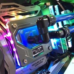 Image 5 - 인텔 LGA1150/1151/1155/1156 용 Bykski CPU 워터 블럭 사용 LGA2011 2066 X99 RGB A RGB 오라 라이트 온도 디스플레이 OLED