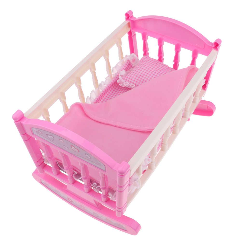 Кукольный Домик принцессы, розовая колыбель, декор для кровати 9-11 дюймов, новорожденная девочка, Детская кукла, дети, играют в игрушку, подарок на день рождения