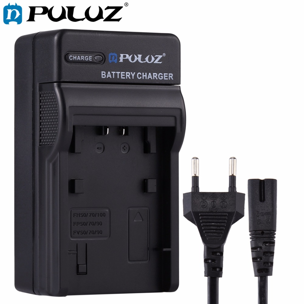лучшая цена PULUZ EU Plug Battery Charger w/h Cable For Sony NP-FH50/70/100 NP-FP50/70/90 NP-FV50/NP-FV70/90 battery for Sony HDR-CX500E