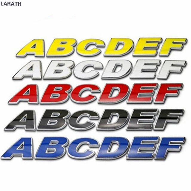 26 letters 30mm red yellow blue white metal letters numbers car emblem stickers refitting decal customize