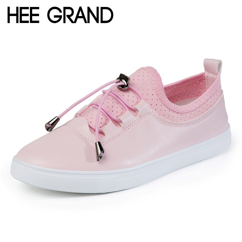 HEE GRAND 2017 New Platform Loafers Casual Lace-Up Flats Solid Comfort Shoes Woman Spring Summer Creepers Women Shoes XWD5776 hee grand casual wedges sandals 2017 summer beach women shoes platform buckle comfort creepers fashion shoes woman xwz3812
