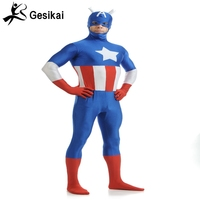 Capitán América lycra spandex traje de Superhéroe Traje de Alta calidad y de alta elástica lycra de cuerpo entero zentai azul y rojo