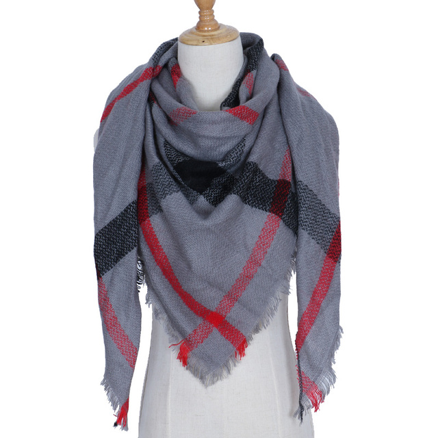 261de7d432c93 New Winter Triangle Scarf Women Luxury Brand Cashmere Plaid Scarves Ladies  Fashion Warm Pashmina Wraps Shawls Foulard Wholesale