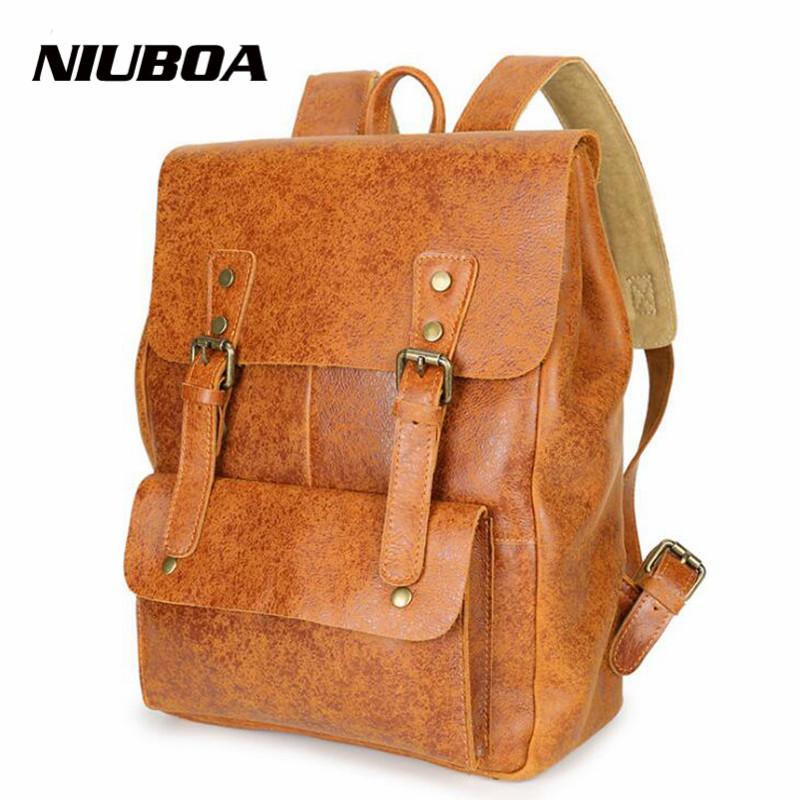 NIUBOA Top Quality Cowhide First Layer Knapsack Male Computer Preppy School Bag Vintage Genuine Leather Rucksack Men Backpack
