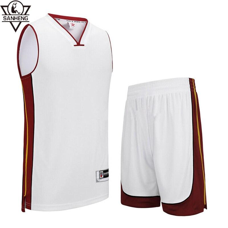 SANHENG Men's Basketball Jersey Short Competition Uniforms Suits Breathable Sports Clothes Sets Custom Basketball Jerseys 306AB 44 rev 30 44 pistol pete basketball jerseys