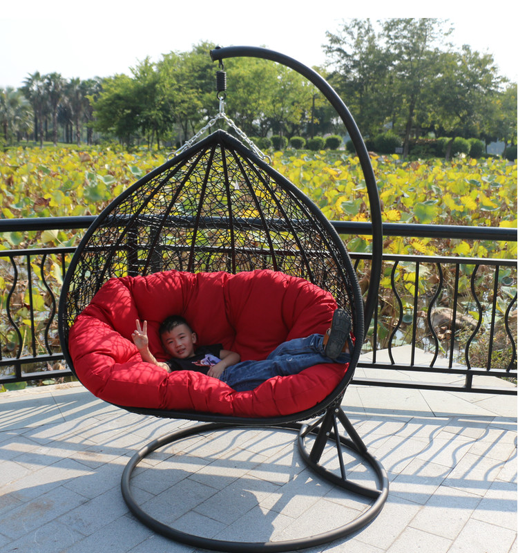 Double indoor swing chair hanging basket rattan wicker