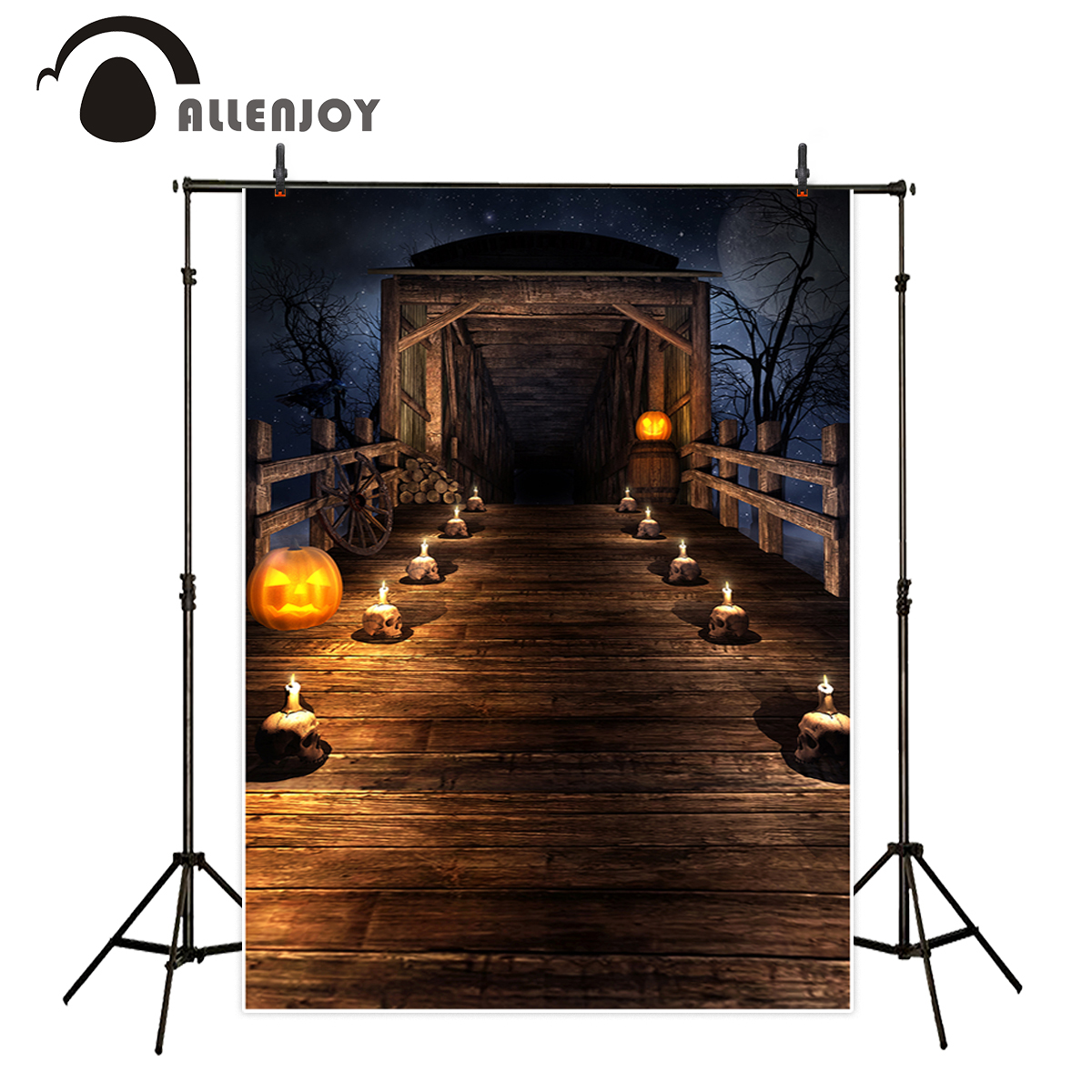 цены Allenjoy backgrounds for photo studio Halloween terror pumpkin wood bridge night backdrop photocall customize fantasy props