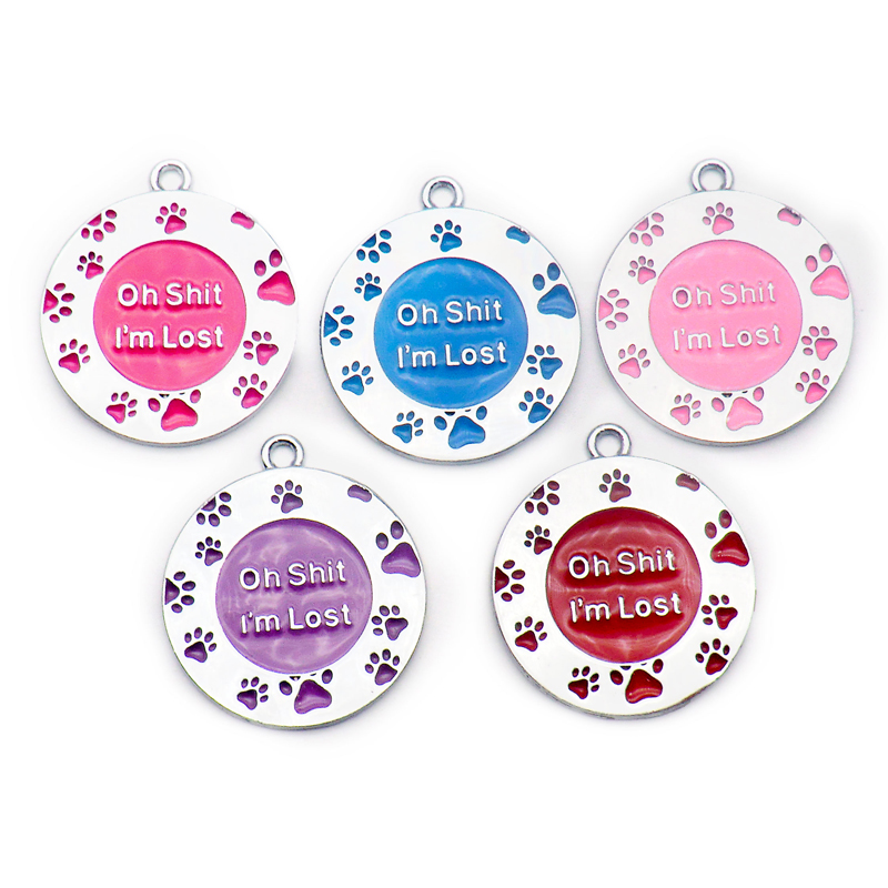 Wholesale 100Pcs Oh Shit I am Lost Personalized Dog Tags Cat Puppy Pet ID Name Collar