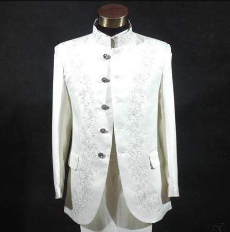 Homens Blazer formal vestido mais recentes modelos casaco calça terno homens terno túnica chinesa gola ternos de casamento para os homens's