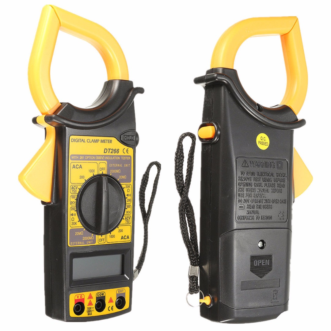New DT266 LCD Digital Clamp Multimeter Clamp Meter AC/DC Current Voltage Tester with ...