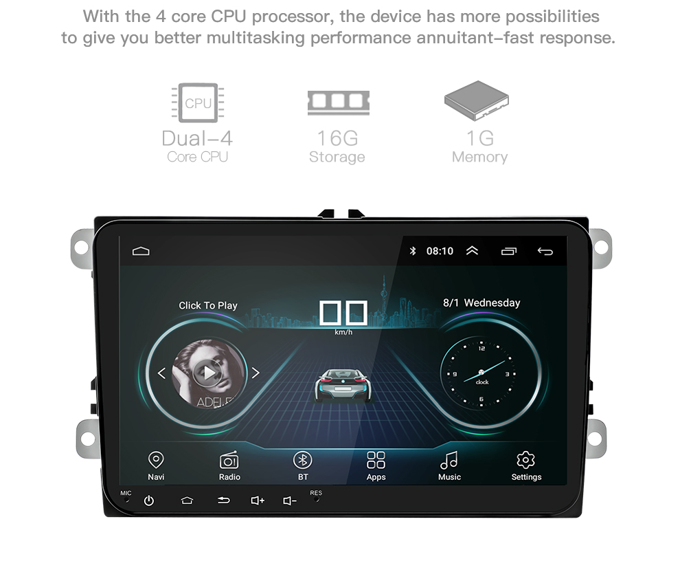 New 9 inch Car Multimedia Player Android 8 GPS Auto radio 2 Din USB For VolkswagenVW PassatPOLOGOLFSkodaSeatLeon Radio (6)