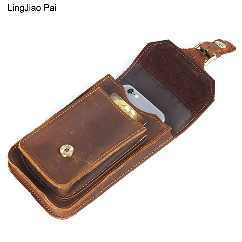 LingJiao Pai Vintage Genuine Leather Waist bag Ipad Mini Cowhide waist pack bag money belt waist pouch Men Bag waist bag