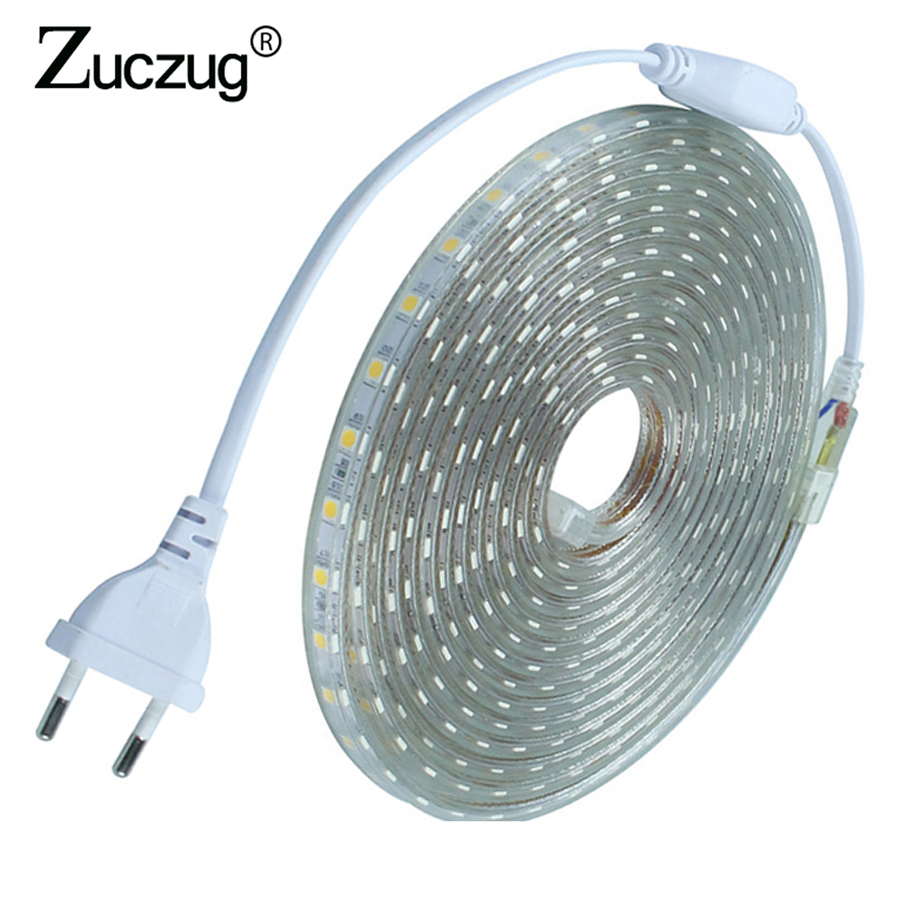 AC 220 v HA CONDOTTO La Striscia 5050 Luce Flessibile 60 led/m ledstrip 220 v volt Nastro lampada Impermeabile Luce con la Spina Di Alimentazione 1 m 2 m 3 m 5 m 8 m 20 m
