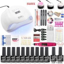 Manicure Set For Nail Kit 80W/54W/36W UV Lamp Dryer 10pcs Gel Polish Varnish Extension Tool