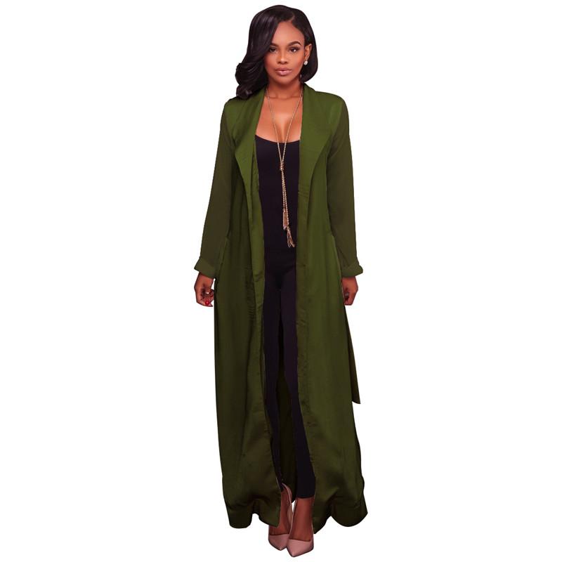 autumn chiffon sleeve long trench outwear-4