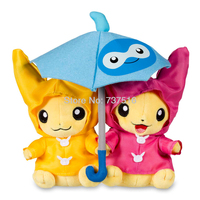 New Anime Stuffed Doll Paired Pikachu Raincoats Celebrations Castform Umbrella with handle for Two Pikachu Plush Toys 8 inches